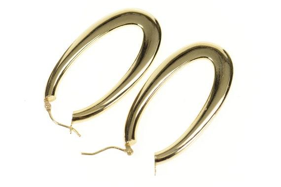 14K 41.2mm Rounded Oval Statement Hoop Earrings Y… - image 2