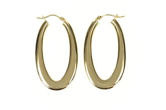 14K 41.2mm Rounded Oval Statement Hoop Earrings Y… - image 1