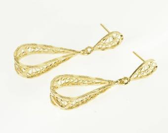 14k Graduated Rope Filigree Teardrop Dangle Post Back Earrings Gold