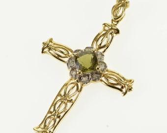 14k 0.55 CTW Tourmaline Diamond Fancy Scroll Cross Pendant Gold