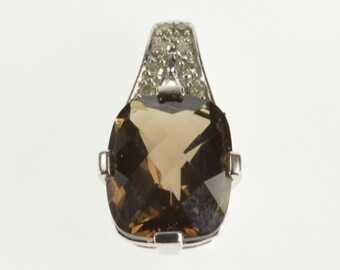 9K Faceted Smokey Quartz Diamond Accented Pendant White Gold