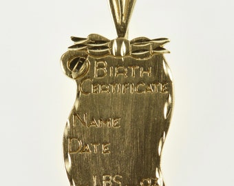 14K Engravable Birth Certificate Record Scroll Charm/Pendant Yellow Gold