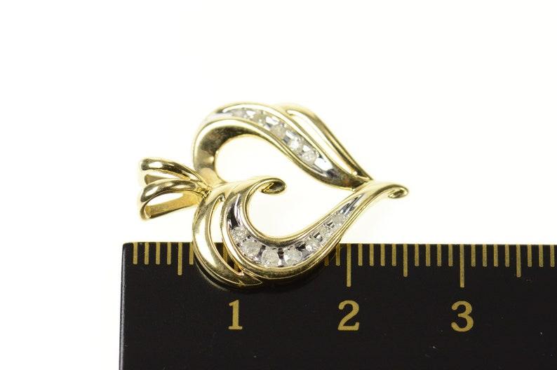 10K Classic Curvy Diamond Heart Love Symbol Pendant Yellow Gold