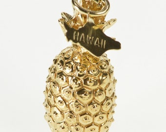14K 3D Stylized Pineapple Hawaii Fruit Souvenir Charm/Pendant Yellow Gold