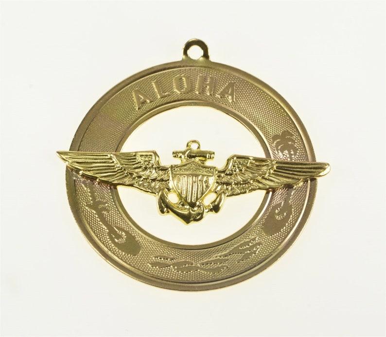 14K Aloha Military Insignia Hawaii Motif Souvenir CharmPendant Yellow Gold