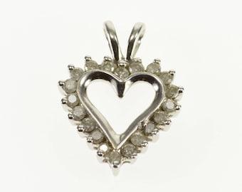 10k Diamond Encrusted Heart Cut Out Pendant Gold