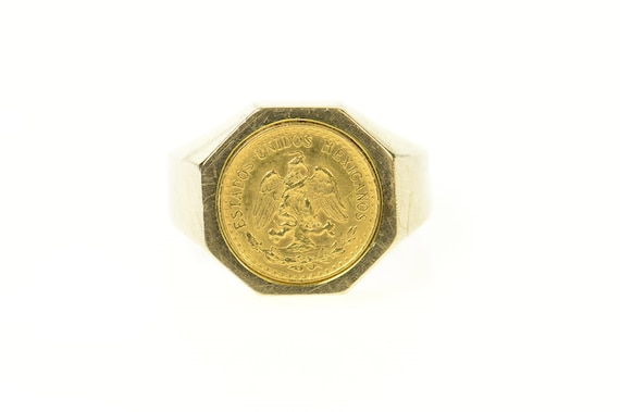 14K Mexican Gold Coin Squared Statement Ring Size