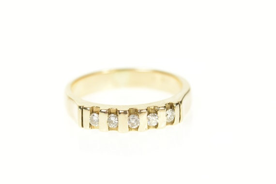 14K Classic Diamond Simple Wedding Band Ring Size