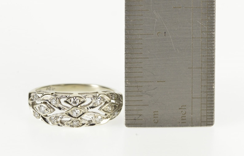 14K 0.20 Ctw Diamond Ornate Art Deco Wedding Band Ring Size 5.75 White Gold
