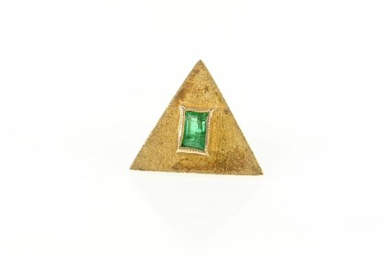 18K Columbian Emerald Triangle Textured Lapel Pin/