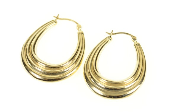 14K Grooved Scalloped Oval Statement Hoop Earrings