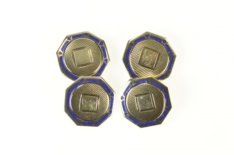 10K Art Deco Blue Enamel Monogrammable Men/'s Cuff Links Yellow Gold