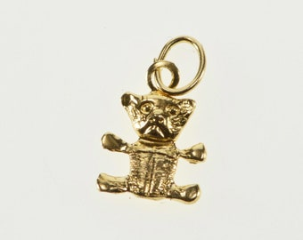 14K High Relief Teddy Bear Stuffed Animal Charm/Pendant Yellow Gold
