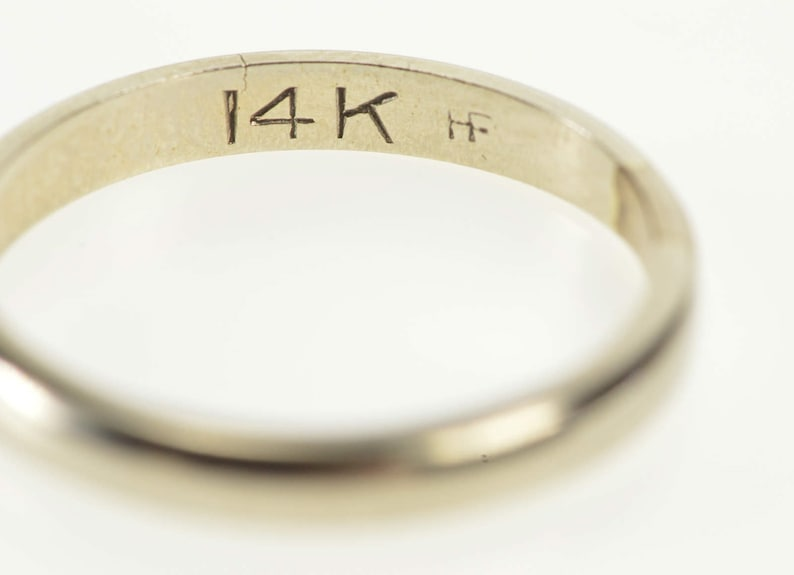 14K 2.6mm Classic Simple Design Wedding Band Ring Size 6.5 White Gold