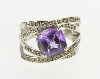 10k Cushion Amethyst Illusion Overlapping Floating Ring Gold