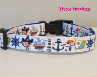 Ahoy Matey Dog Collar