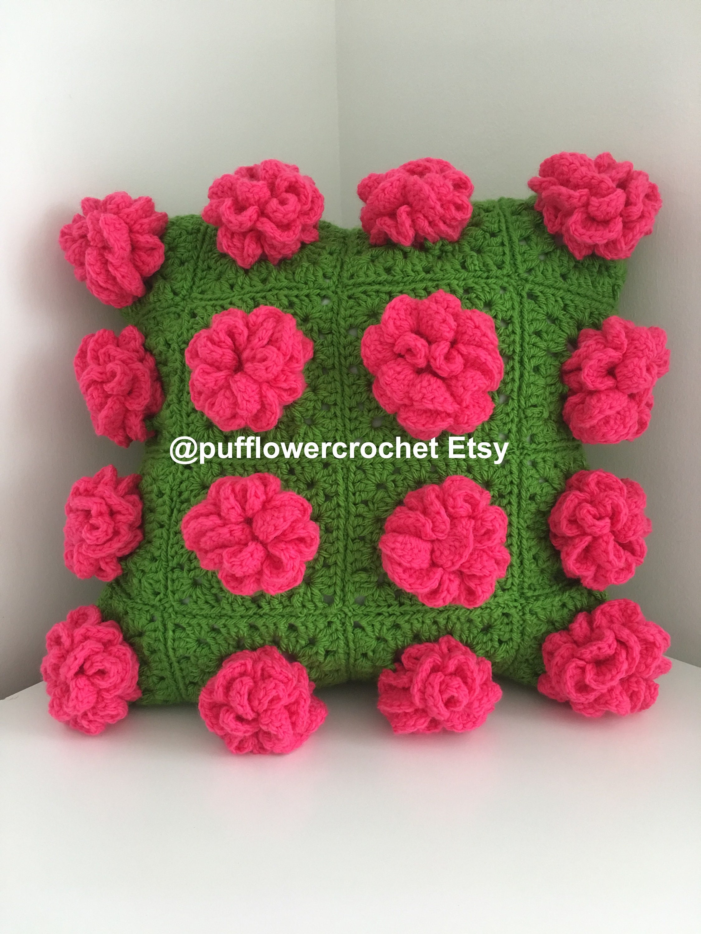 Etsy Cuscini.Cushion Pillow Cuscini Hand Made Crochet Pink Peony Peonies Etsy