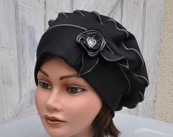 Beret Beanie hat in Black jersey with decorative flower size 57.5 to 59cm
