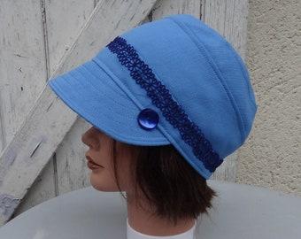 CAP, Leolix, blue with dark blue lace size 55-55 Ribbon, 5cm
