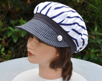 Hat for woman Leolix, cotton style Navy striped Blue Navy and white polka dots - size 56-57cm visor