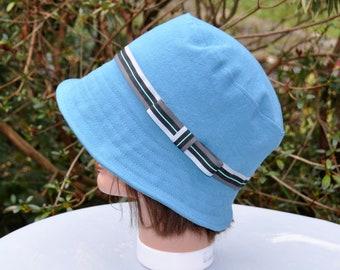 Woman Sun Hat, blue cotton lining - size 57-57, 5cm