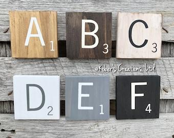 """Large Scrabble Letters, 5.5"""" Wood Scrabble Tiles, Large Scrabble Tiles, Jumbo Scrabble Tiles, Scrabble Tiles Wall Art, Crossword Wall Decor"""