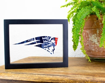 New England Patriots NFL Logo Cut from Sam Adams Beer Can! Beer Can Art Hung in a Floating Frame for your Mancave, Bar, or Unique Gift.