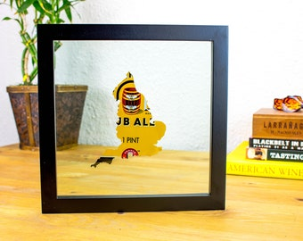 Boddingtons England- Custom Hand Cut Beer Can Art in a Float Frame- Perfectly unique for your Bar or Man Cave!