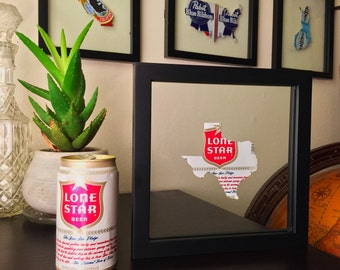 Vintage 1975 Lone Star Texas Beer Can Art - Unique Floating Frame for the Man Cave -- LIMITED EDITION Original Can