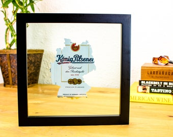 Germany Konig Pilsener- Custom Hand Cut Beer Can Art in a Float Frame- Perfectly unique for your Bar or Man Cave! German Pride!