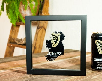 Guinness Ireland- Custom Hand Cut Beer Can Art in a Float Frame- Perfectly unique for your Bar or Man Cave!