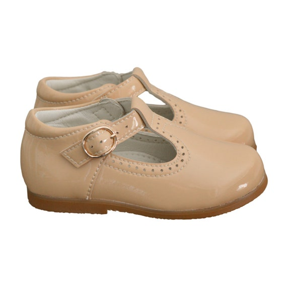 Kids Beige TBars Kids Spanish Shoes