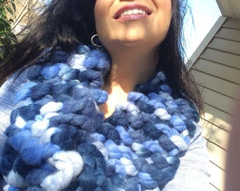 Infinity cowl, Blue infinity scarf, multi shades of blue scarf, blue cowl