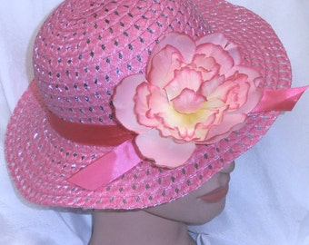 Girls Pink Fuscia Hat Spring Hat Easter Bonnet Wedding Hat Pageant Teaparty Hat with Spring Flower