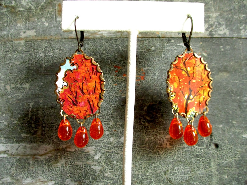 Sugar Maple Vintage Tin Autumn Trees with Czech Glass Drops Earrings