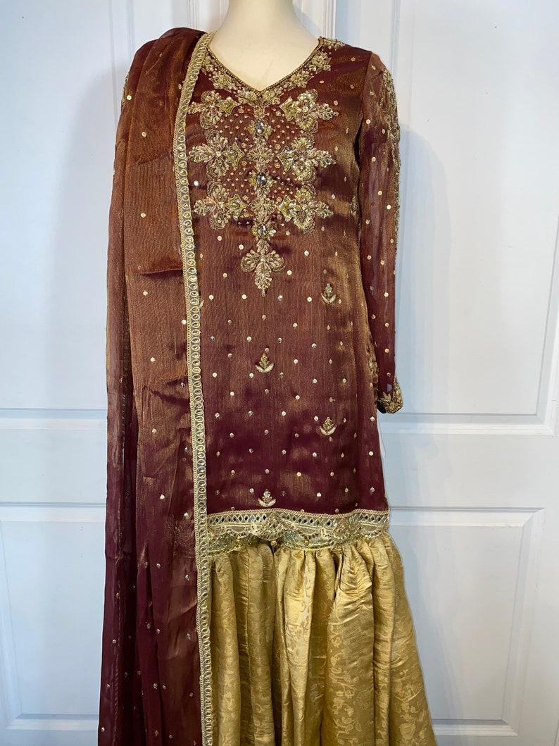 Brown & Gold cotton silk 3 piece suit / Shalwar Kameeze  image 0