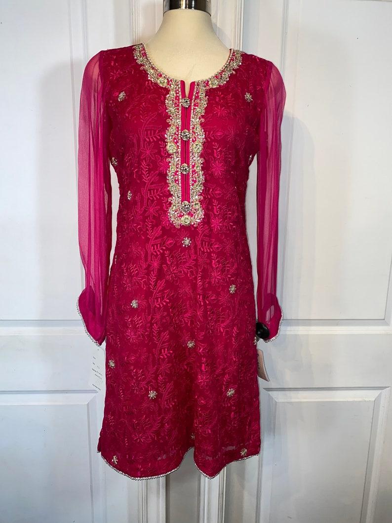 Magenta pink chiffon 3 piece suit / Shalwar Kameeze  Punjabi image 0