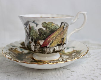 Royal Albert Bone China Tea Cup and Saucer, Village Scene on White with Gold Trim