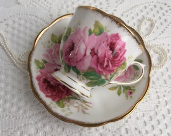 Royal Albert Bone China Tea Cup and Saucer, American Beauty, Pink Roses with Gold Trim