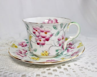Foley English Bone China Tea Cup and Saucer, Hand Painted Pink, Yellow and Green with Green Handle, Gold Trim, 1930s-40s