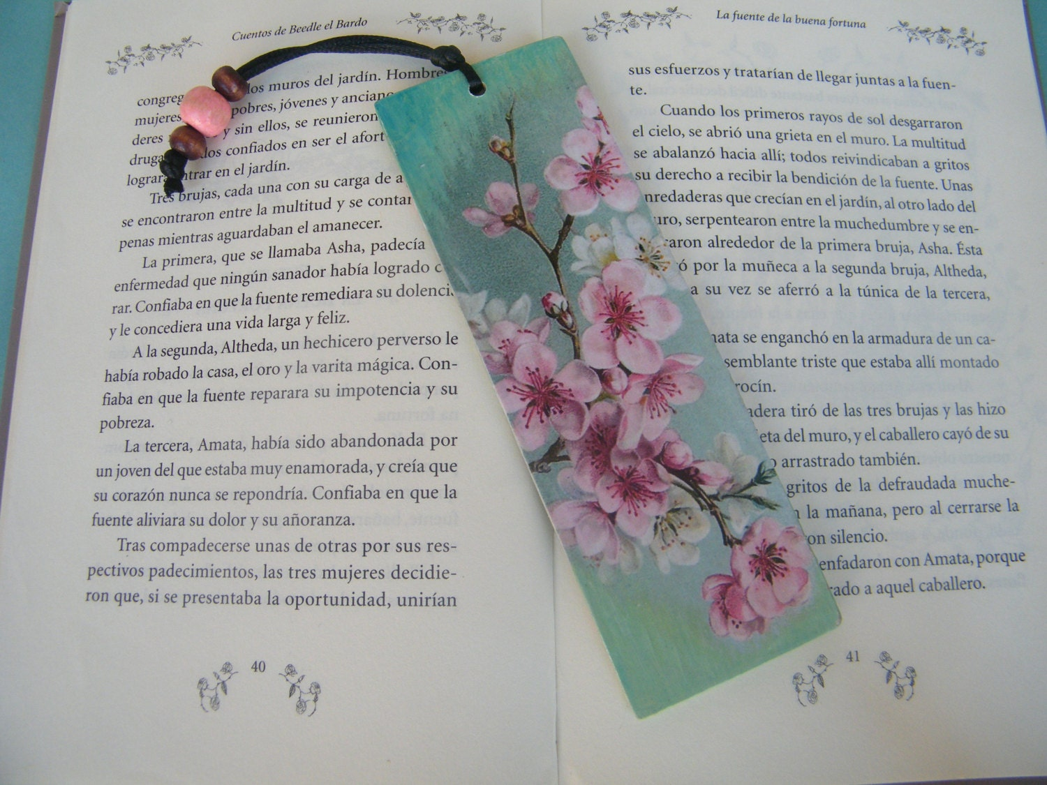 Spring blossom bookmark, page marker, cherry blossom bookmark, floral  reading accessory, gift for teachers, unique travel bookmark