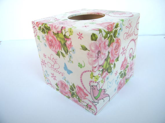Square Shabby Chic Style Tin Tissue Box Paper Napkin Box Cover Rose Floral