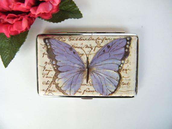 Butterfly On Blue Flower Metal Business Credit Card Case Holder