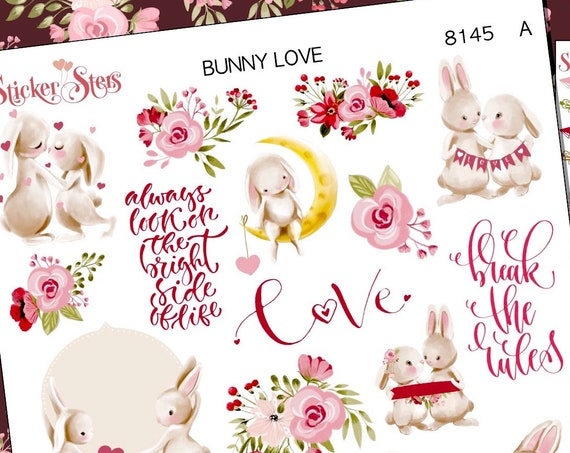Bunny Love Planner Stickers Stickers Mini Kit | 8145