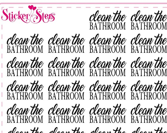 Clean the Bathroom Small Sheet Planner Stickers Set Cute and Functional made for all Planners