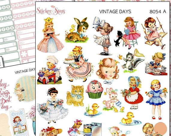 Vintage Memories Shabby Chic Retro Kids Planner Sticker | 8054