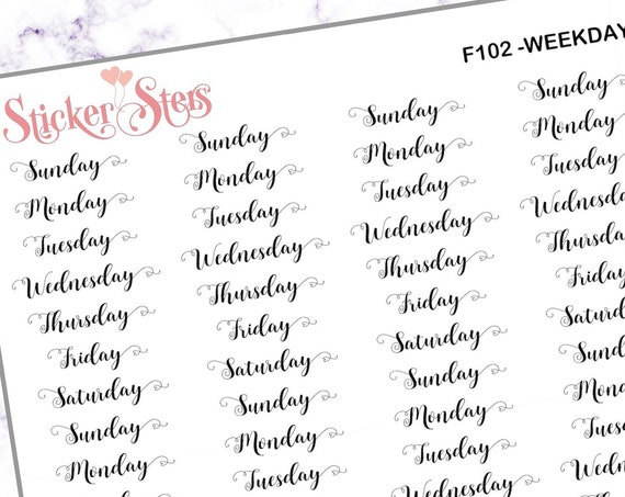 Weekdays  | F102 Planner Stickers