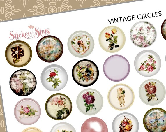 Vintage Style Circles and Buttons | F138  Planner Stickers
