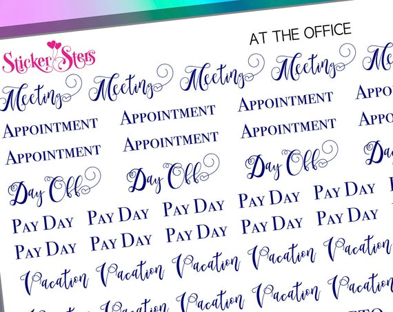 At the Office Work Duties Foil Options Available | F194 Planner Stickers