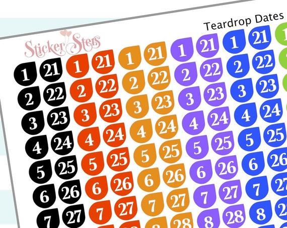 Teardrop Dates (6 months) | F141 Planner Stickers